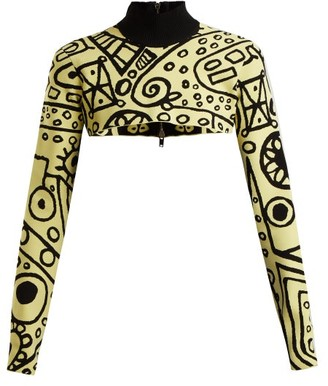 Colville - Abstract Print Cropped Sweater - Womens - Black Yellow