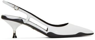 Prada White Leather Slingback Heels