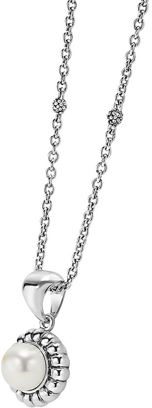 """Lagos Luna Sterling Silver & Cultured Freshwater Pearl Fluted Pendant Necklace, 16"""""""