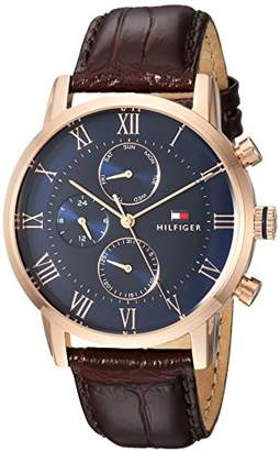 Tommy Hilfiger Men s Sophisticated Sport Quartz Gold and Leather Casual Watch Color Model 1791399