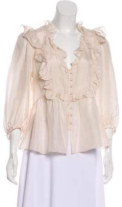 Rebecca Taylor Ruffle-Trimmed Long Sleeve Top