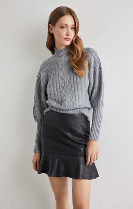 BCBGMAXAZRIA Balloon Sleeve Turtleneck Sweater