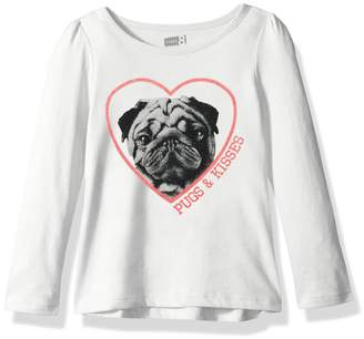 Crazy 8 Little Girls' Long Sleeve Crewneck Graphic Tee, White Pugs and Kisses, M