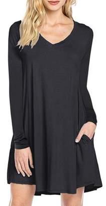 Lintimes Women's Long Sleeve V-neck Swing Pocket Casual T-shirt Dress Female Shirt Spring Autumn