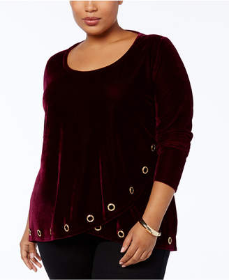 Belldini Plus Size Velvet Grommet-Trim Crossover Top