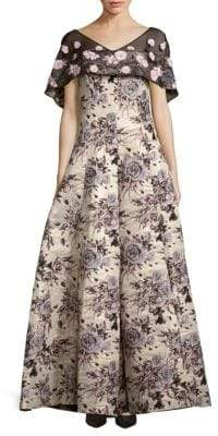 Badgley Mischka Floral-Motif Brocade Gown