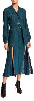 Rotate by Birger Christensen Number 10 Belted Dot-Print Long-Sleeve Dress