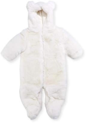 Adrienne Landau Hooded Fur Snowsuit, Size 3-12 Months