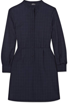 A.P.C. Audrey Checked Crepe Mini Dress - Navy