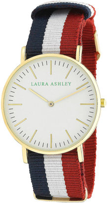 Laura Ashley Womens Red White And Blue Knitted Colored Band With Gold Ultra-Thin Case Watch La31016Wt $295 thestylecure.com
