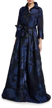 Rickie Freeman For Teri Jon Premier Metallic Silk Burnout Button-Front Belted Gown
