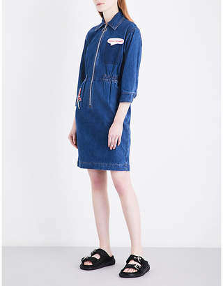 Mo&Co. Patch-embroidered denim dress