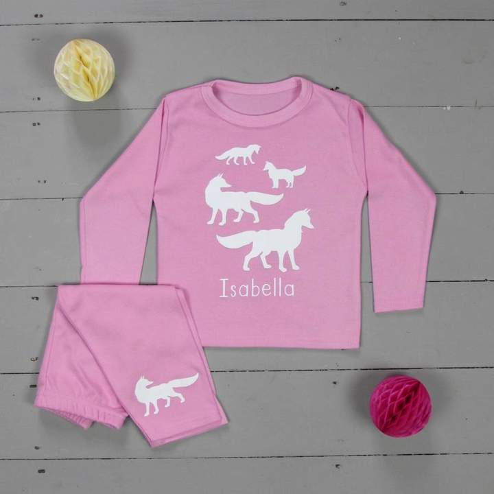 Littlechook Personalised Childrens Clothing Personalised Pyjamas Fox Family