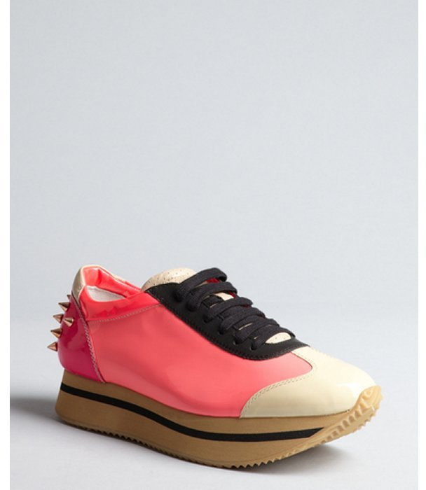 Ruthie Davis bububblegum pink spiked patent leather 'Joggie' mid sole sneakers