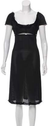 Prada Leather-Trimmed Mesh Dress