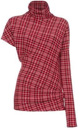 Calvin Klein Red checked single sleeve top