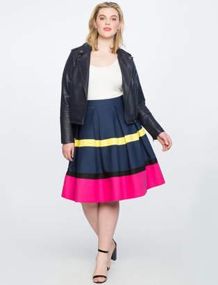 Colorblocked Pleated Skirt