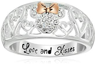Disney Silver Plated Crystal You'll Forever Be My Minnie with Rose Gold Accent Ring
