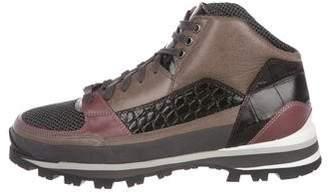 Dries Van Noten Round-Toe High-Top Sneakers