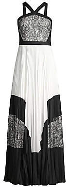 BCBGMAXAZRIA Women's Colorblock Lace & Pleated Halter Maxi Dress