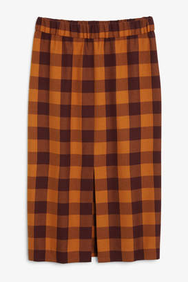 Monki Checkered midi skirt