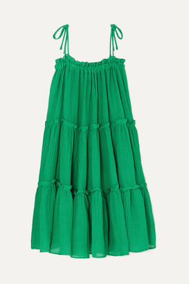 Lisa Marie Fernandez Ruffled Tiered Linen-blend Dress - Green
