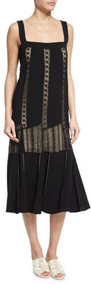Derek Lam Sleeveless Embroidered-Lace Midi Dress, Black $1,995 thestylecure.com
