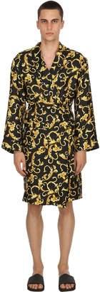 Baroque Printed Silk Satin Kimono Robe