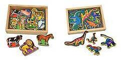Melissa & Doug Melissa & Doug®; Wooden Magnets Set - Animals and Dinosaurs With 40 Woode...