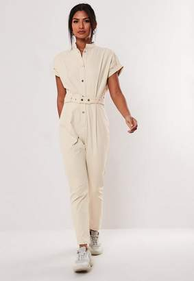 Missguided Cream Utility Pocket Belted Jumpsuit, Cream