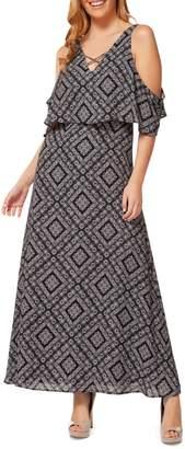 Dex Floral Cold-Shoulder Maxi Dress
