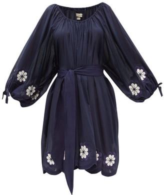 Innika Choo Frida Burds Embroidered Cotton Mini Dress - Womens - Navy