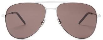 Saint Laurent Classic Aviator Sunglasses - Womens - White Black