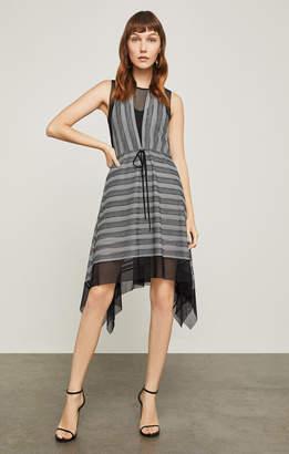 BCBGMAXAZRIA Asymmetrical Striped A-Line Dress