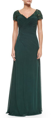 La Femme Ruched Cap-Sleeve Gown, Forest Green $460 thestylecure.com