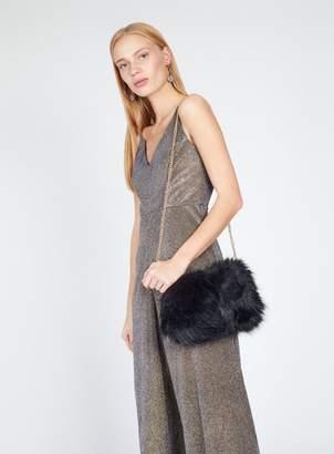 Miss Selfridge Black faux fur cross body bag