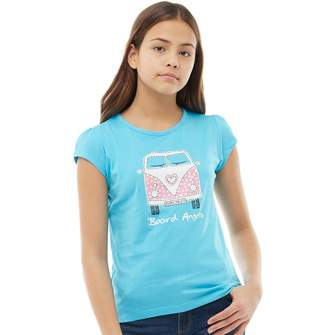 Board Angels Girls Front/Back Print Camper T-Shirt Turquoise