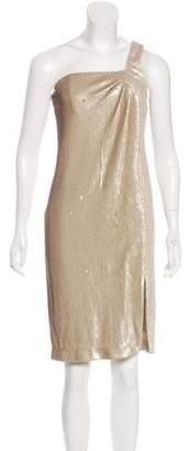Halston One-Shoulder Sequin Dress w/ Tags