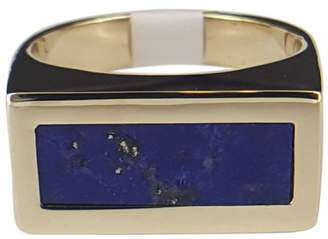 14K Yellow Gold with Blue Lapis Fashion Ring Size 8.5