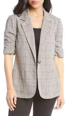 Karen Kane Plaid Ruched-Sleeve Jacket
