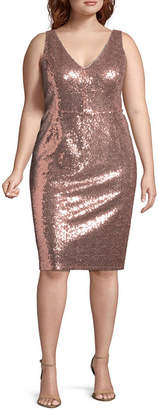 BLU SAGE Blu Sage Sleeveless Sequin Cocktail Dress - Plus