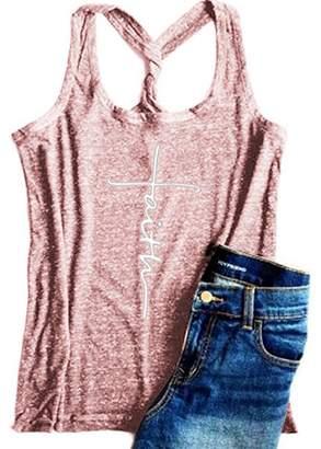 WENFUMEI Faith Letters Print Women Tank Top Sleeveless T-Shirts Vest Yoga Racerback Size M