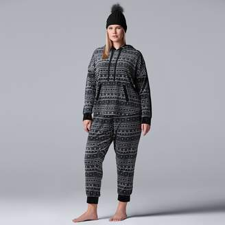 Vera Wang Plus Size Simply Vera 3-piece Top, Joggers & Hat Pajama Set