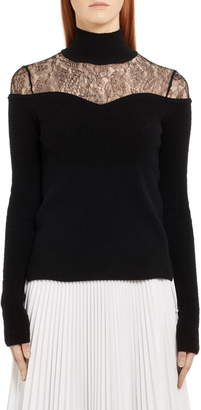 Fendi Lace Inset Wool & Cashmere Sweater