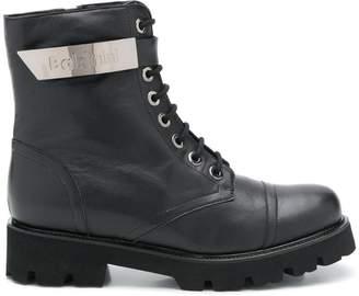 Baldinini logo plaque combat boots
