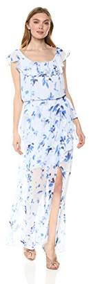 Nine West Women's Faux Wrap Maxi Dress with Ruffle Detail at Neckline