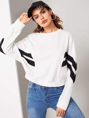 Shein Cut-and-sew Dolman Sleeve Sweatshirt