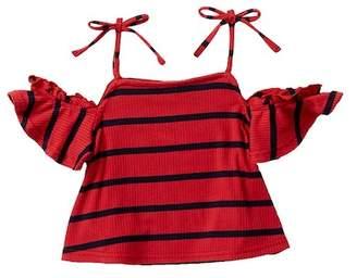 MADDIE Cold Shoulder Striped Tie Top (Big Girls)