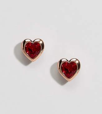 Ted Baker rose gold red crystal heart stud earrings