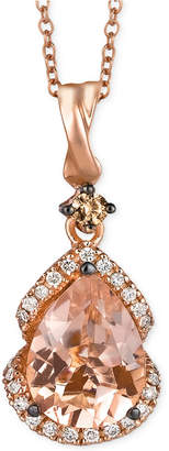 LeVian Le Vian Peach Morganite (1-1/5 ct. t.w.) and Diamond (1/5 ct. t.w.) Pendant Necklace in 14k Rose Gold, Created for Macy's
